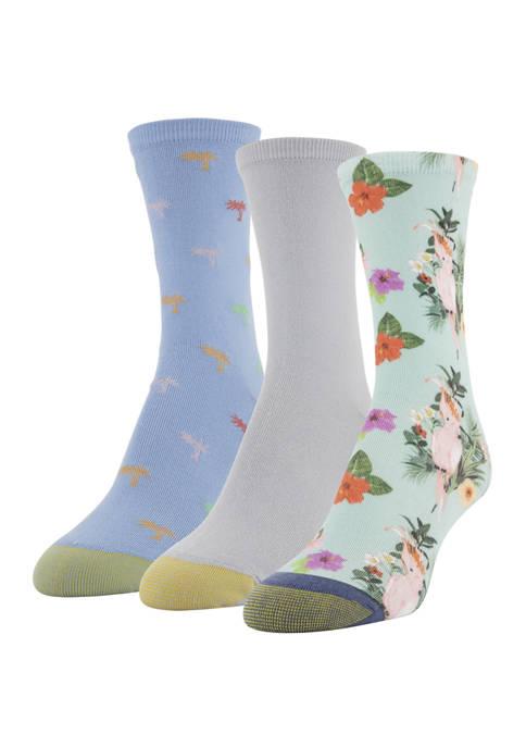 Womens Set of 3 Island Floral Midi Socks