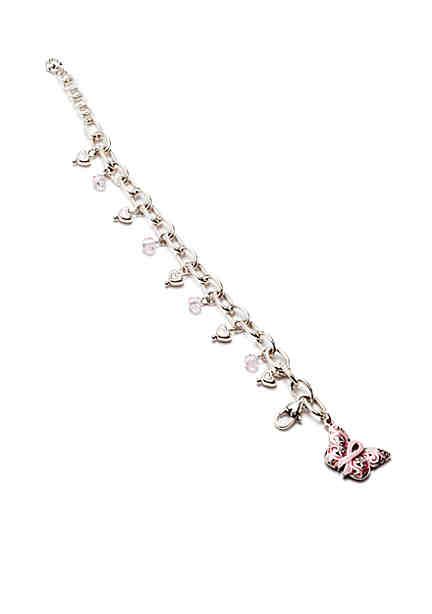 Brighton Silver Tone Power Of Pink Pop Charm Link Bracelet