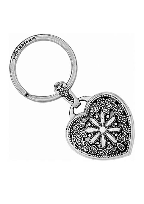 Silver Floral Heart Key Fob