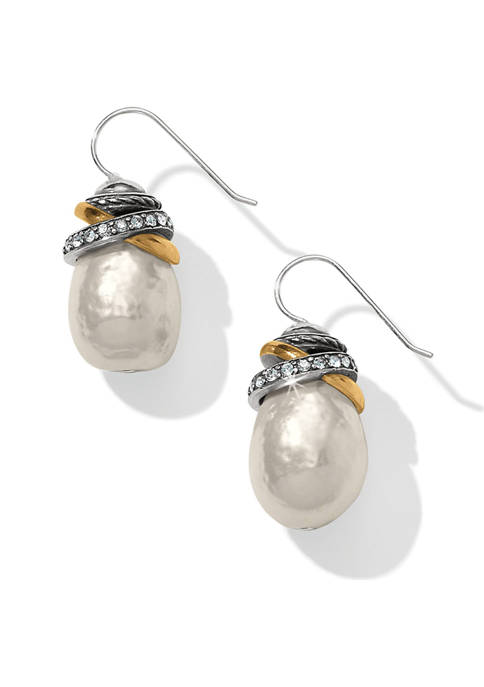 Neptunes Rings Pearl French Wire Earrings