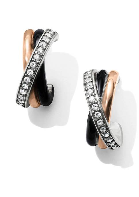 Neptunes Rings Black Post Clip Earrings