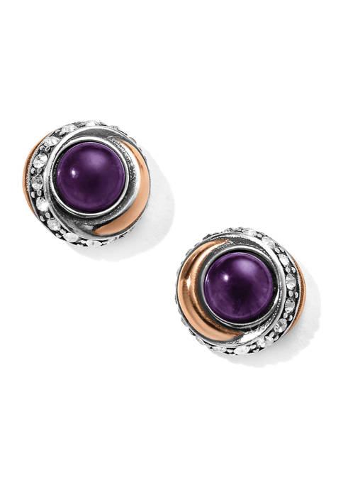 Neptunes Rings Amethyst Button Earrings