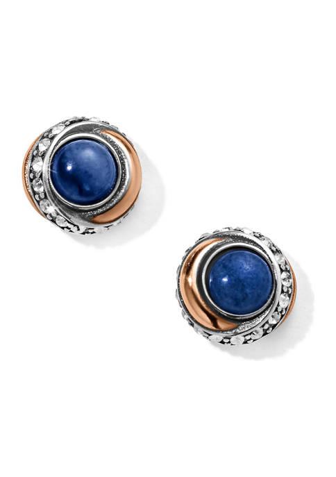 Neptunes Rings Brazil Blue Quartz Button Earrings