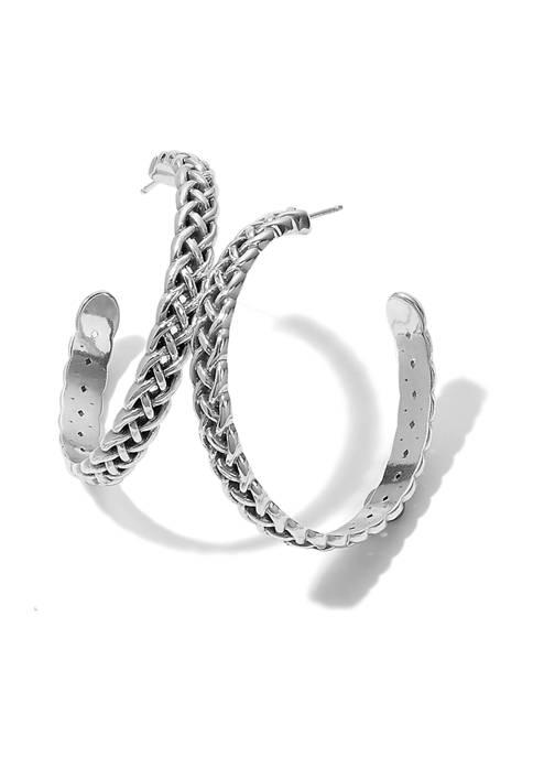 Interlok Braid Large Hoop Earrings