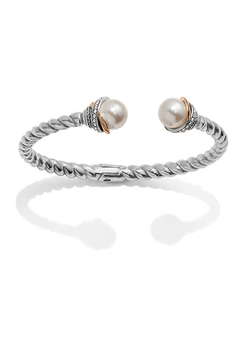Neptunes Rings Pearl Open Hinged Bangle