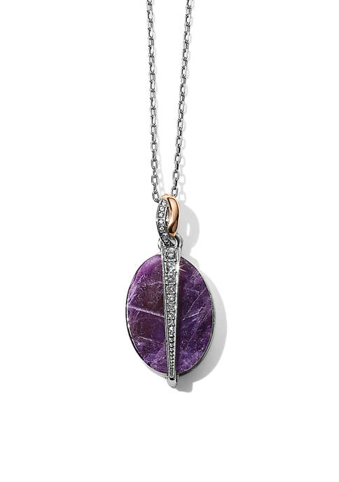 Neptunes Rings Oval Amethyst Reversible Short Necklace