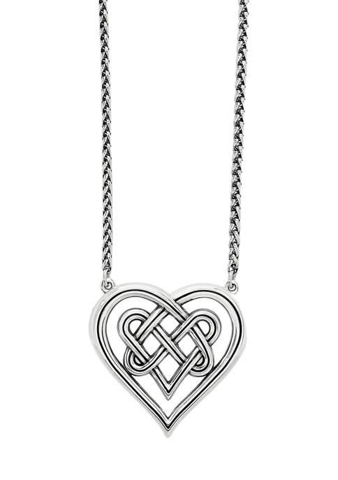 Brighton® Interlok Crossing Hearts Pendant Necklace in Sterling