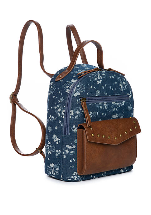 Denim Brown Floral Mini Dome Backpack