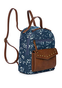 TRUE CRAFT Denim Brown Floral Mini Dome Backpack