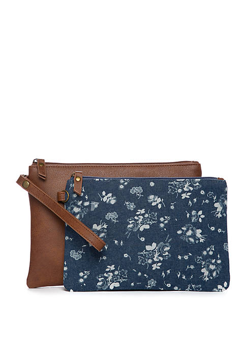 Denim and Brown Pouch Set