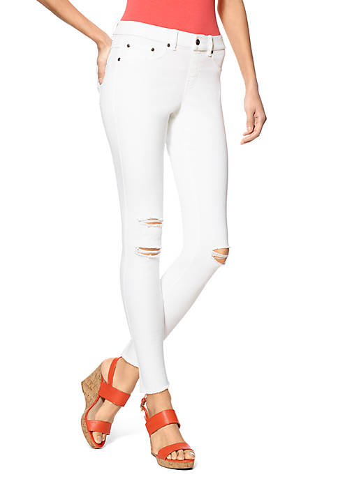 HUE® Ripped Knee Denim Leggings
