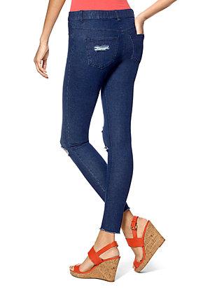 257fcbc84335b HUE® Ripped Knee Denim Leggings   belk