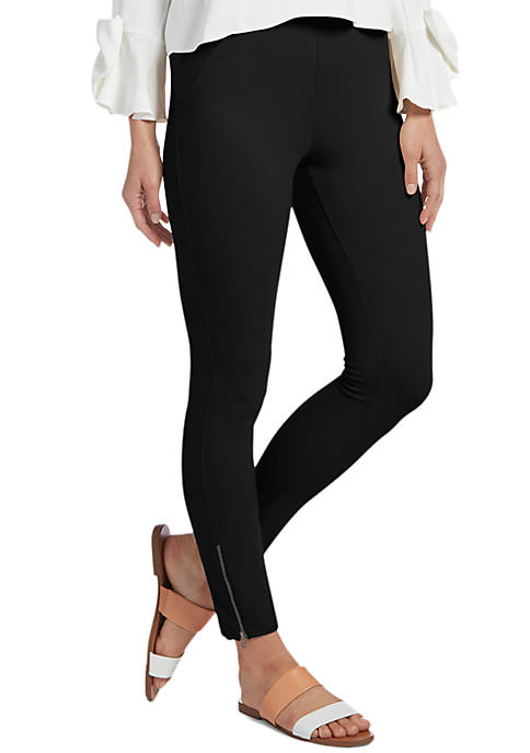 HUE® Ankle Zip Simply Stretch Skimmer Leggings
