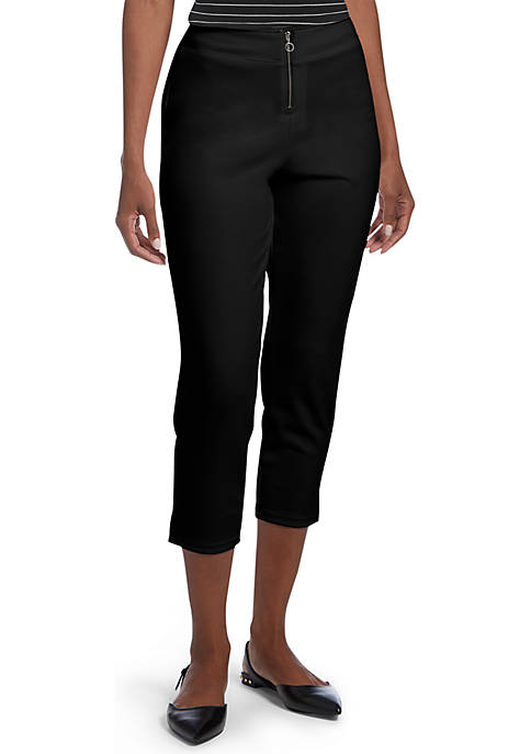HUE® Zippered High Waist Crepe Capri