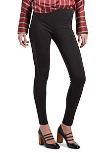 Leatherette Trim Ponte Leggings