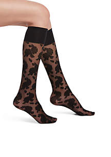 Sheer Floral Knee High Socks