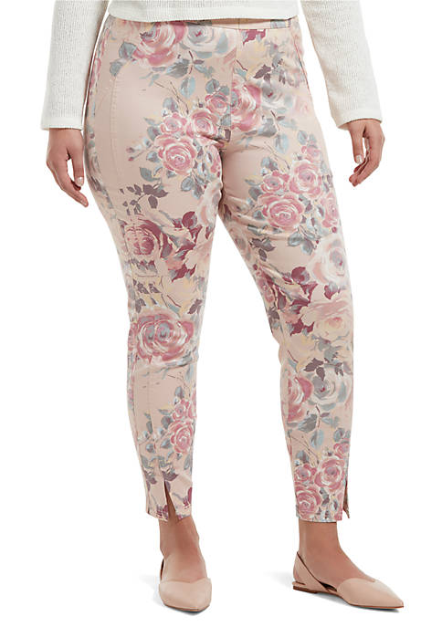 HUE® Plus Size Watercolor Rose Sateen High Waist