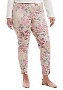 HUE® Plus Size Watercolor Rose Sateen High Waist Skimmer Leggings