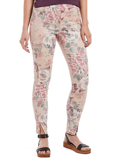 HUE® Watercolor Rose Sateen High Waist Skimmer Leggings