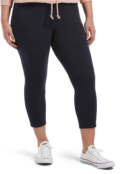 HUE® Plus Size Blackout Cotton Capri Leggings