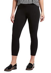 HUE® Wide Waistband Blackout Cotton Capri Leggings