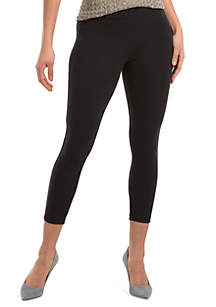 Hue Womens Blackout Solid Wide Waistband Capri Leggings