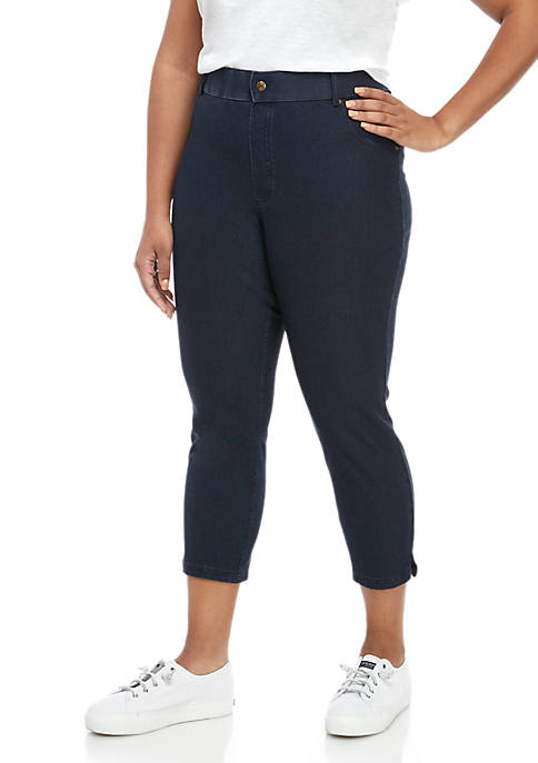 HUE® Plus Size Ankle Slit Essential Denim Capri