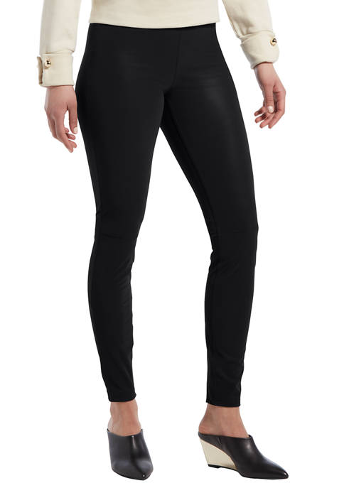 Womens Textured Faux Leather Leggings