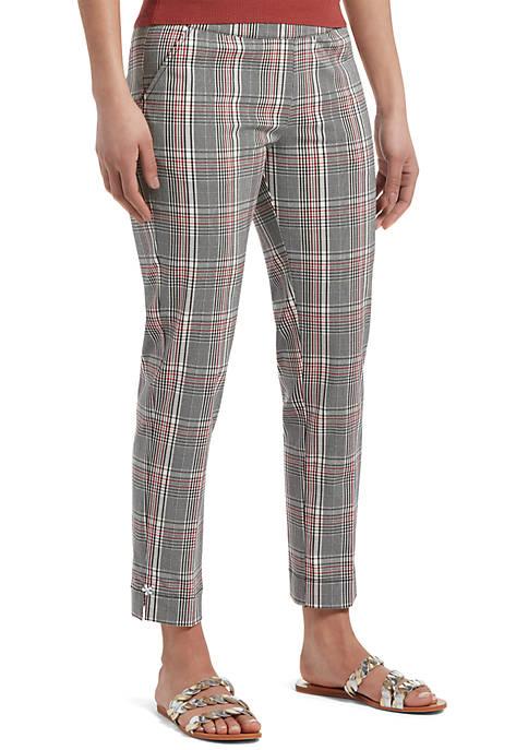 HUE® Glen Plaid Ankle Slit Loafer Skimmer Pants