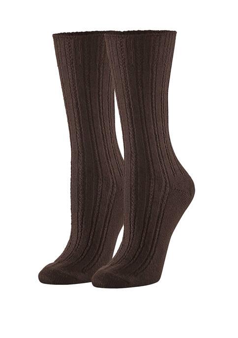 HUE® Temp Tech™ Tuck Stitch Ribbed Socks