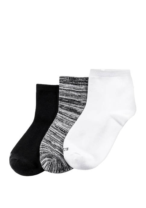 HUE® Womens 3 Pack Super Soft Cropped Socks