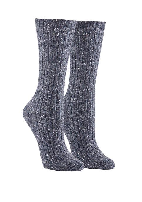 Tweed Ribbed Boot Socks