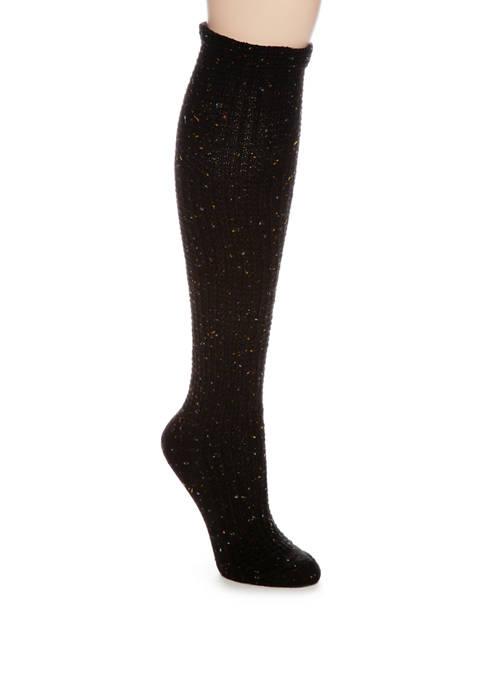 HUE® Cuffed Waffle Tweed Knee Socks
