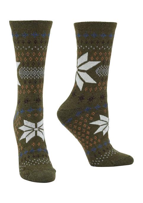 Set of 2 Fair Isle Snowflake Boot Socks