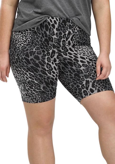 HUE® Womens Essentials Wavy Leopard Cotton Bike Shorts