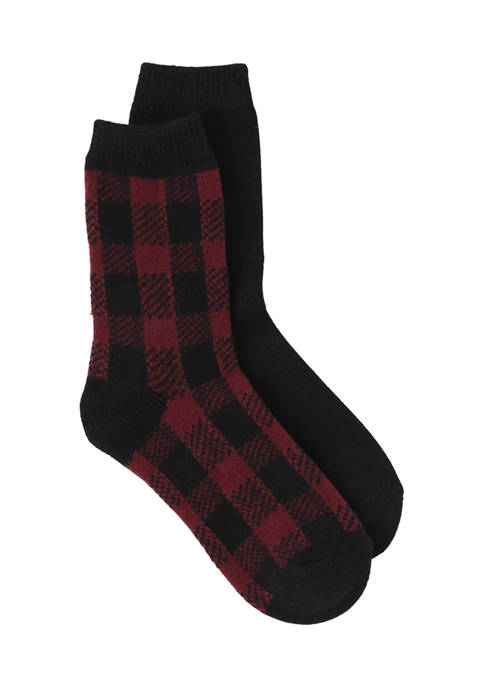 HUE® Buffalo Plaid Boot Socks
