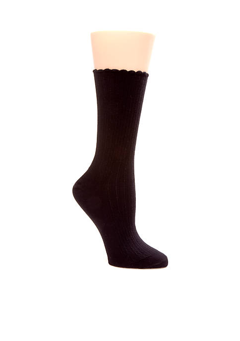Scallop Pointelle Socks - Single Pair