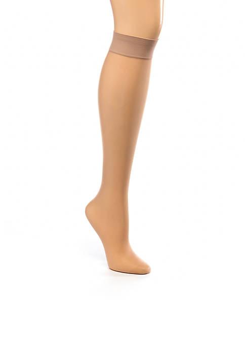 HUE® Sheer Knee High 2-Pair Pack Stockings