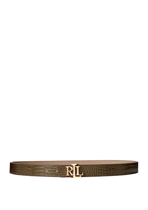 Lauren Ralph Lauren Crocodile Embossed Smooth Reversible Leather