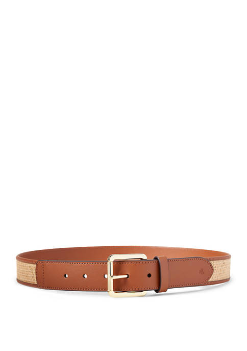Raffia Roller Buckle Wide Belt
