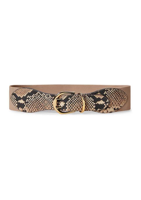 Lauren Ralph Lauren Python-Print Wide Stretch Belt