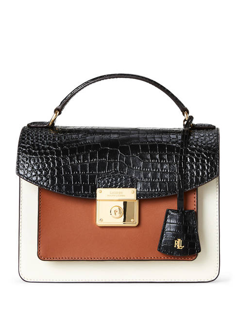 Lauren Ralph Lauren Croc Saff Smooth Beckett Satchel