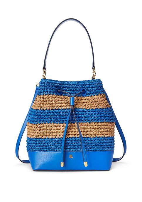 Lauren Ralph Lauren Crochet Straw Debby Drawstring Bucket