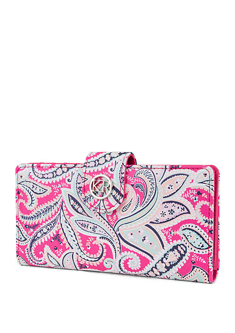 Paisley Slim Clutch Wallet With Tab