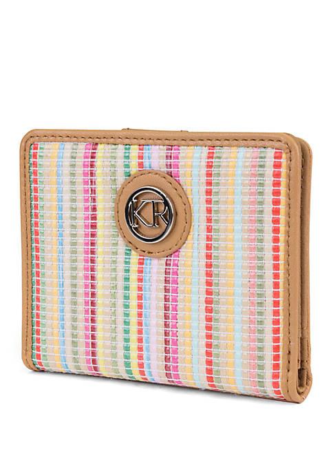 Kim Rogers® Multi Stripe Staw Mini Bifold Wallet