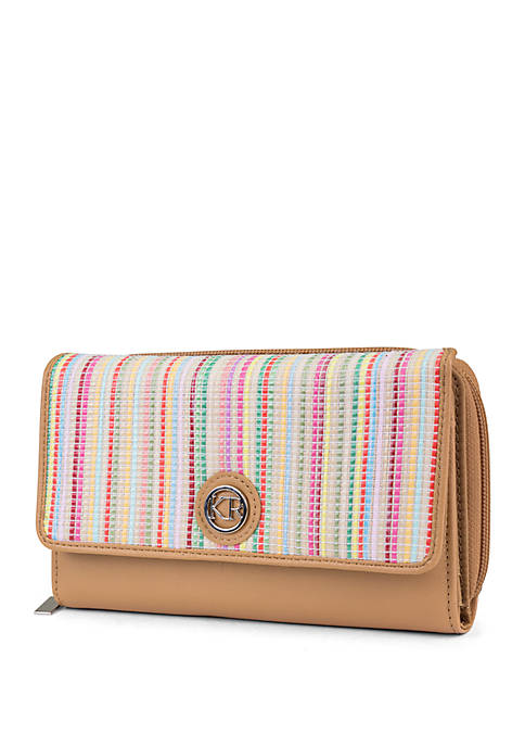 Kim Rogers® Multi Stripe Straw Essentials Wallet