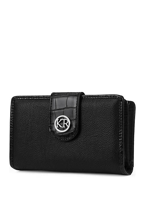 Kim Rogers® Pebble Leather Wallet with Crocodile Trim