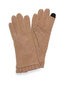 Women's Wool Ruffle Touchscreen Gloves