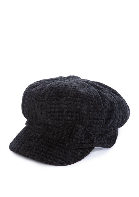 Womens Chenille Cabby Hat with Bow