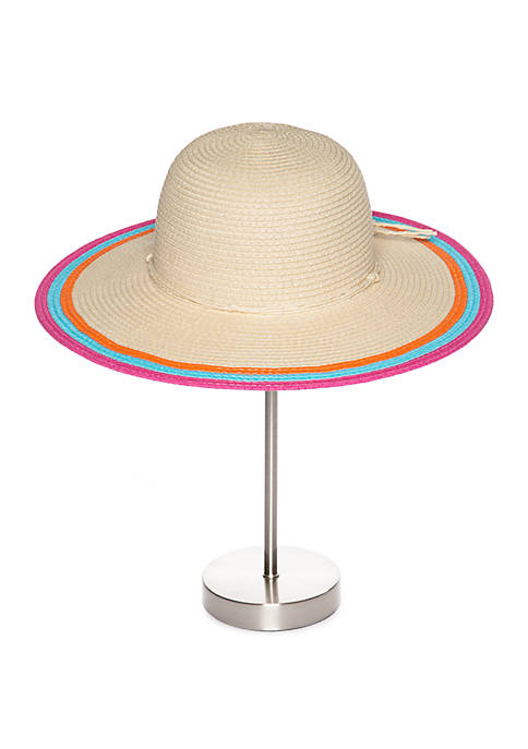Paper Floppy Hat With Multicolor Trim